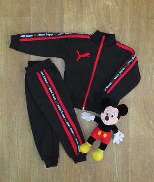 Теплый детский спортивный костюм со вставкой, трехнитка