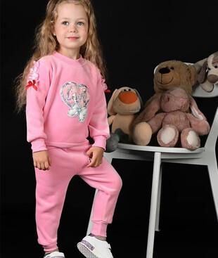 Костюм детский для девочки (розовый) теплый, флис