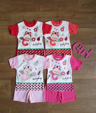 Ясельный костюм летний для девочки турецкий Bilkon baby 100% коттон