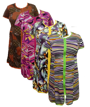 Женский халат на молнии с карманами, вискоза