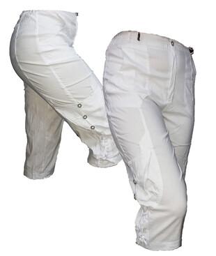 Женские белые бриджи с карманами, трикотаж