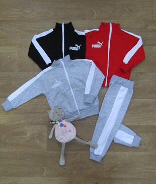 Детский спортивный костюм с вышивкой и боковой вставкой, начес