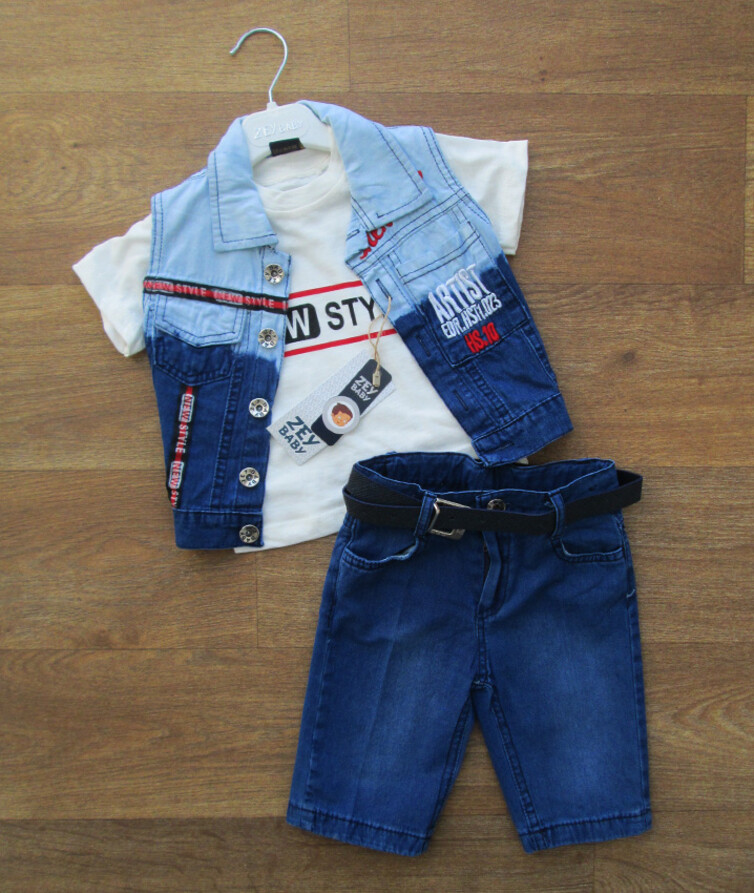 Костюм тройка на мальчика турецкий (футболка + бриджи +жилетка)