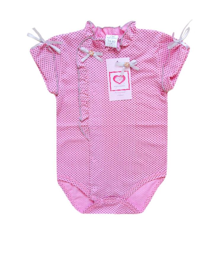 Розовый ясельный бодик для девочки с коротким рукавом, кулир