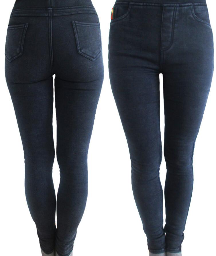 Зимние джеггинсы женские стрейч джинс на флисе (темно-синие, черные)