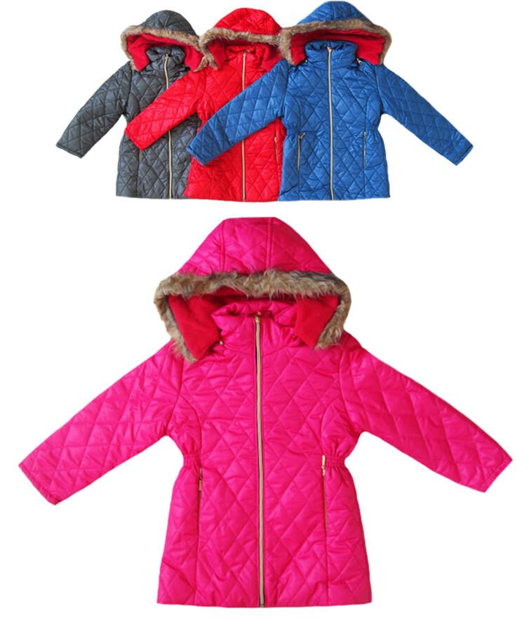 Стеганая куртка на девочку с капюшоном турецкая демисезонная