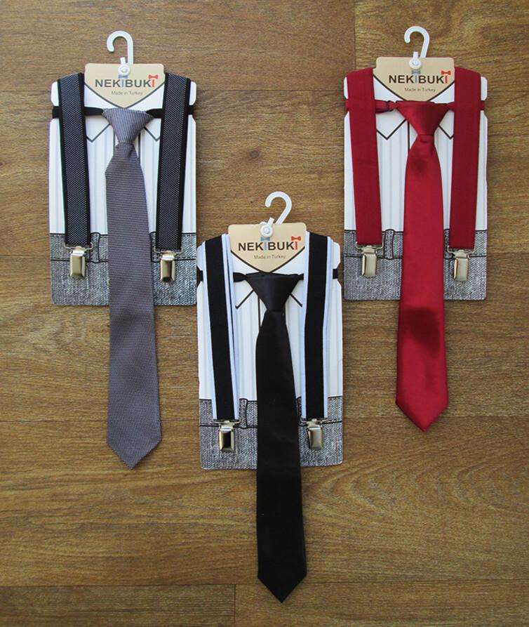 Детский набор подтяжки + галстур Турция, атлас