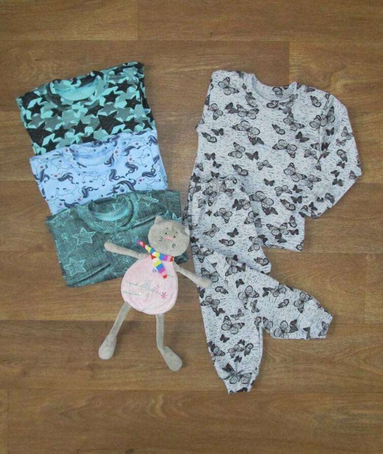 Пижама детская цветная, стрейч с начесом