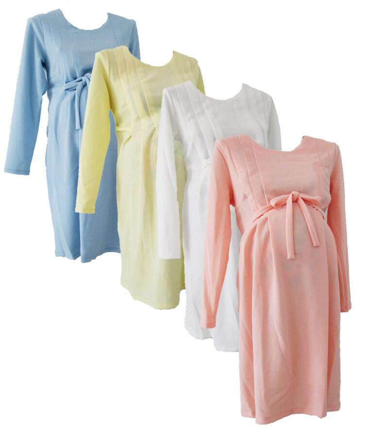 Платье для беременных с длинным рукавом на поясе