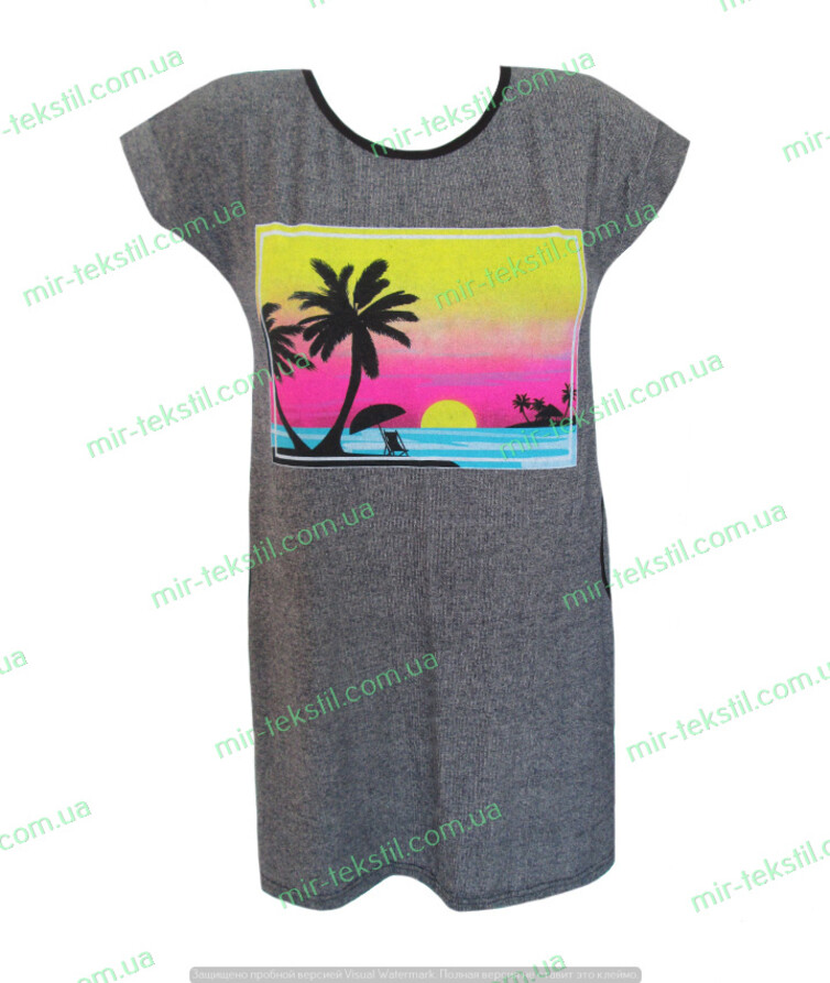 Туника женская с пальмами с карманами