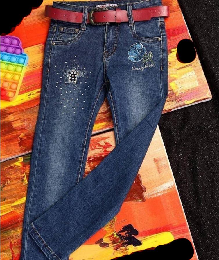 Детские джинсы для девочки с поясом