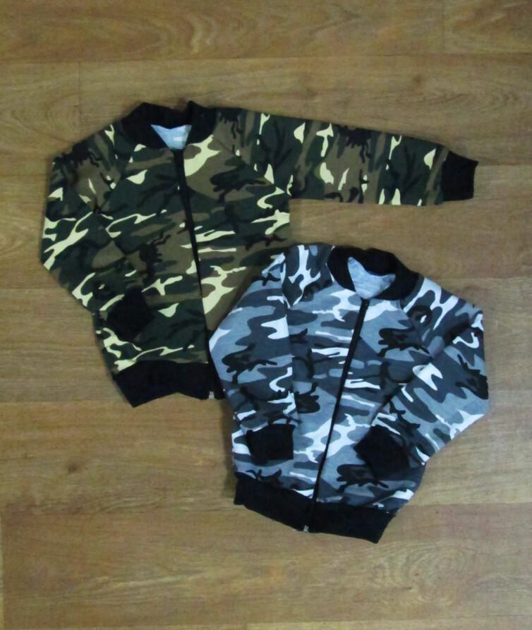 Детская кофта на молнии с карманами, двухнитка
