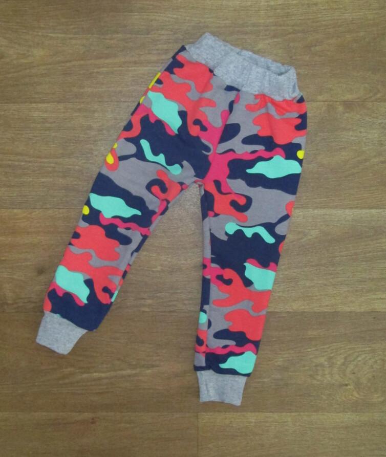 Детские камуфляжные штаны для девочки, двухнитка
