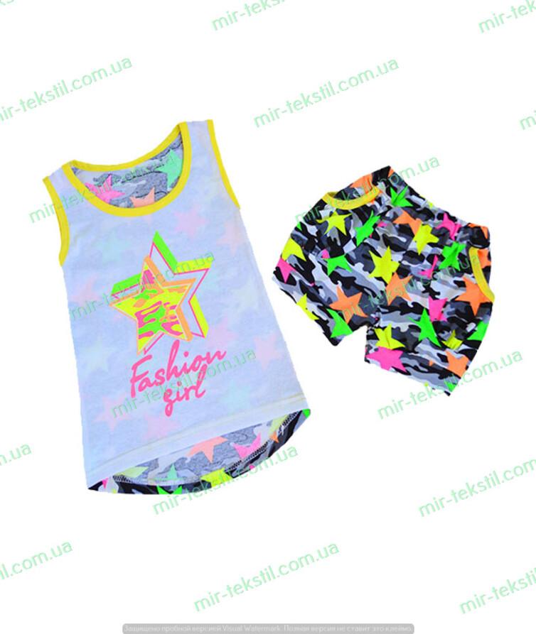 Летний костюм для девочки камуфляж с шортами