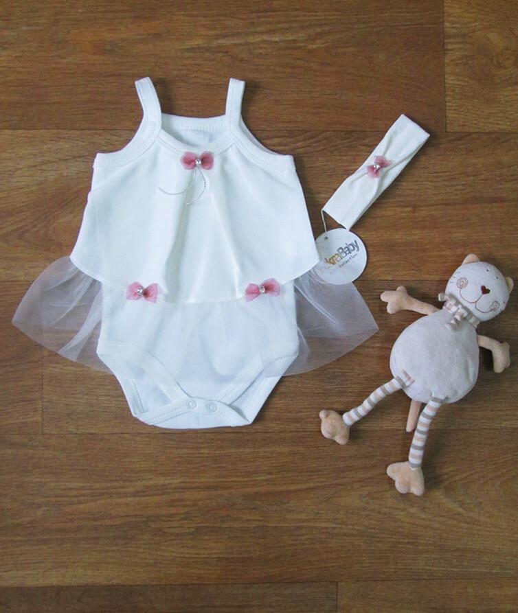 Нарядный ясельный боди на девочку c фатином и повязкой турецкий FekraBaby внутр. ткань-100% хлопок, наруж. ткань-100% полиэстр