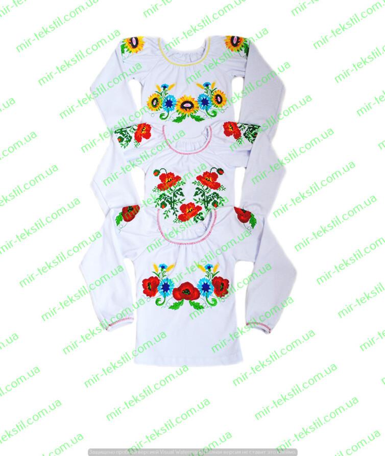 Вышиванка для девочки с длинным рукавом, интерлок