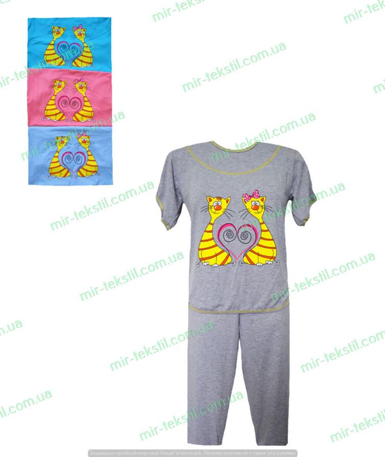 женская пижама с футболкой с накатом