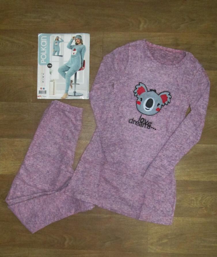 Женская пижама с вышивкой (туника + лосины) Турция, ангора