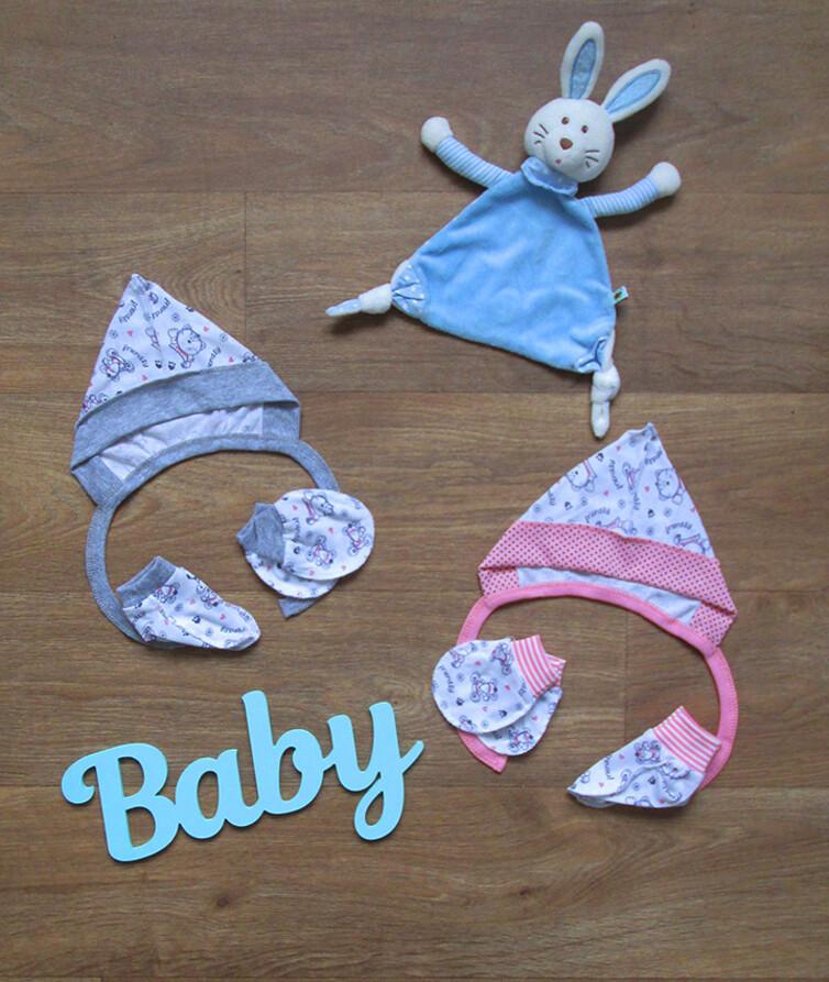 Набор для новорожденных кулир чепчик с пинетками и царапками
