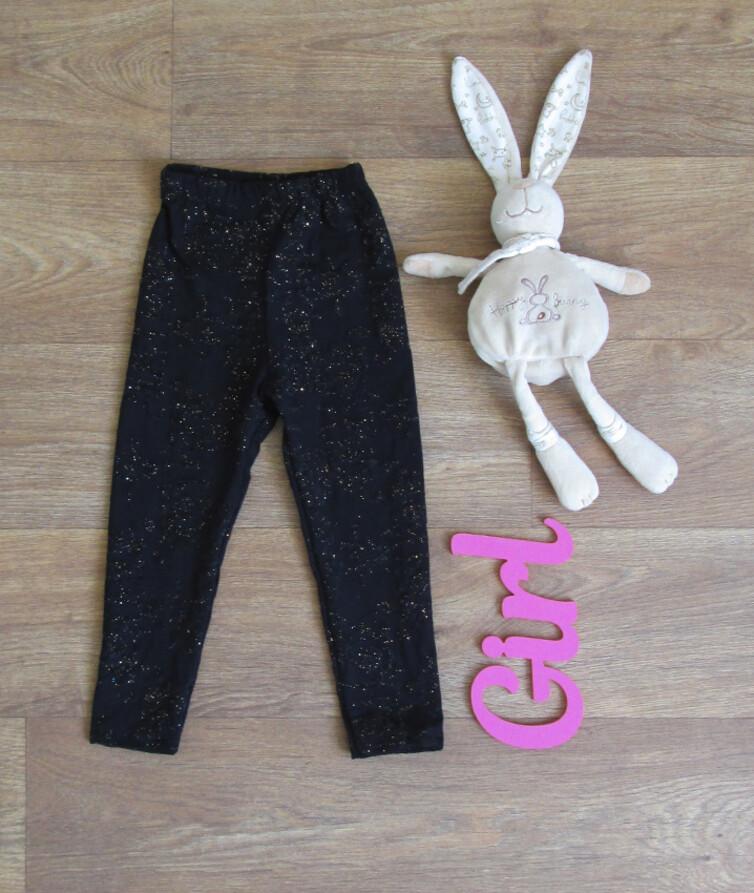 Модные черные лосины на девочку с люрексом, стрейч кулир