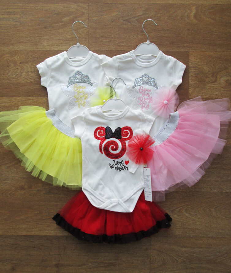 Комплект боди деткий + юбка + повязка Турция