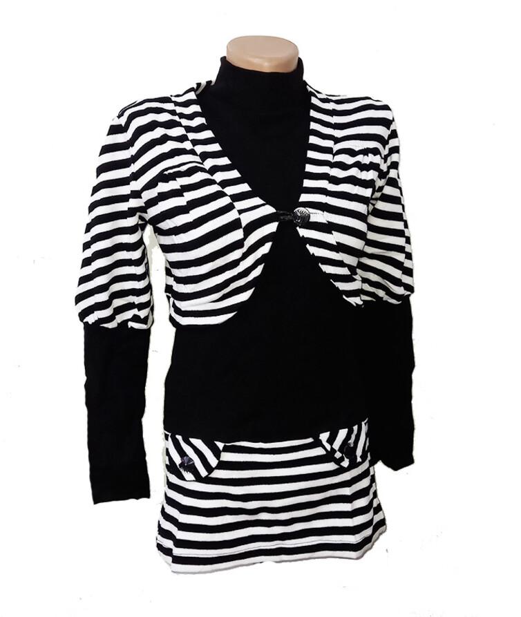 Женский джемпер без рукава + балеро с длинным рукавом, акрил