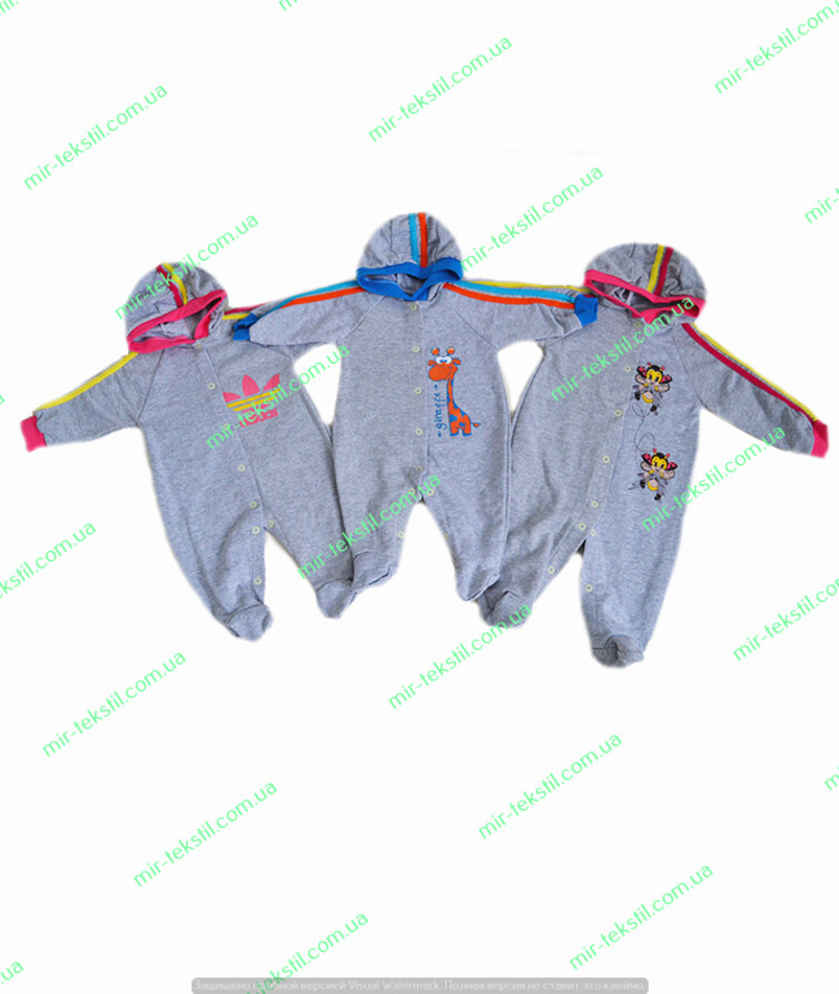 Комбинезон для новорожденных с капюшоном, начес