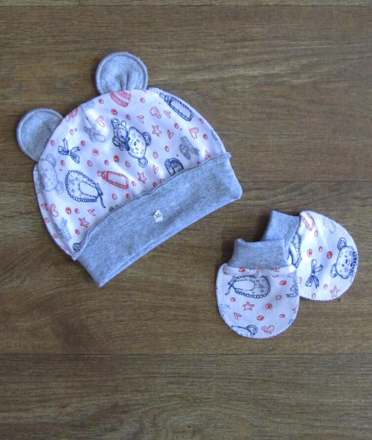 Набор шапочка и царапки для малышей, начес