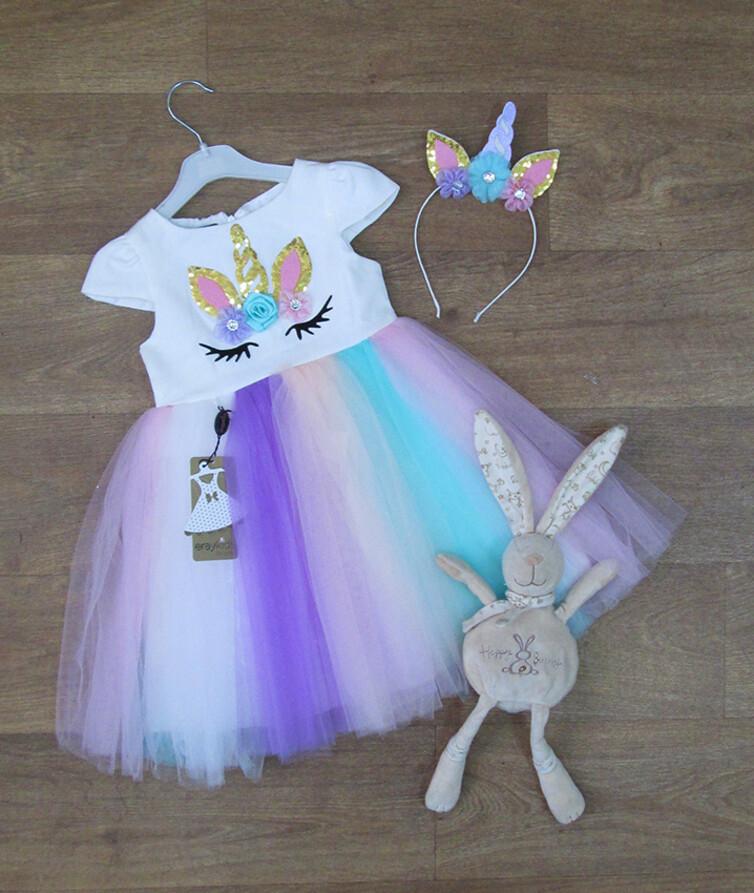 Нарядное платье для девочки с обручемТурция, фатин