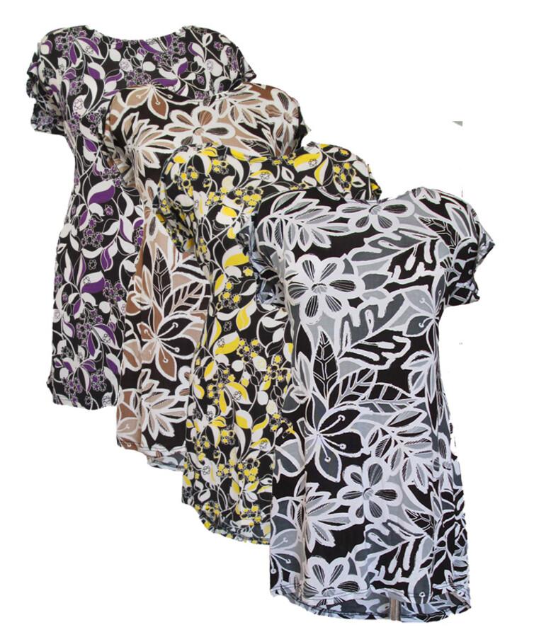 Летняя женская туника в цветах, викоза