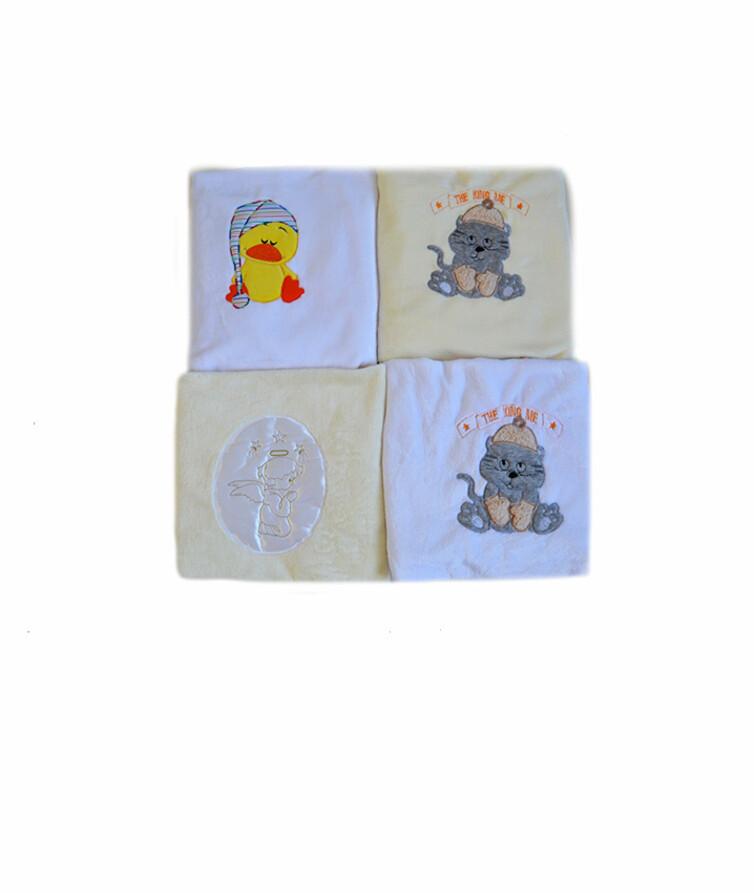 Плед для новорожденных с вышивкой, вельсофт