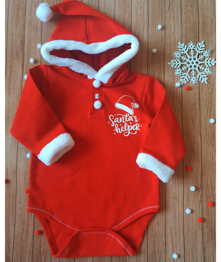 Новогодний боди для новорожденных с капюшоном, начес