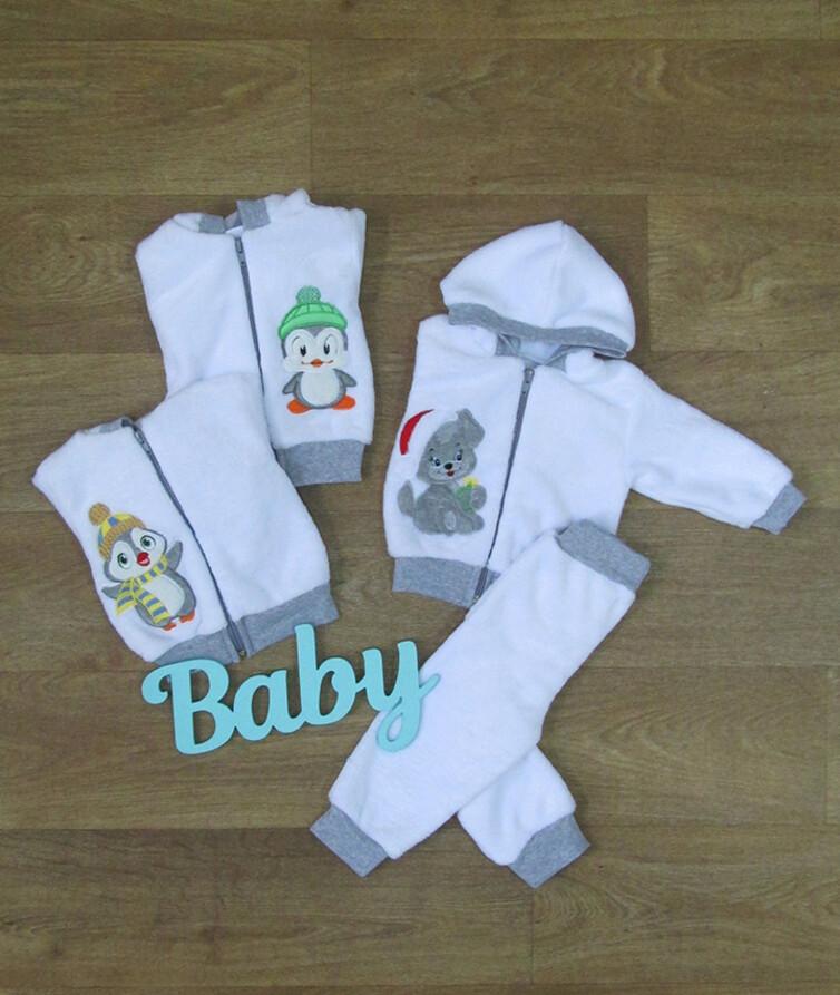 Костюм для новорожденных с капюшоном, вельсофт