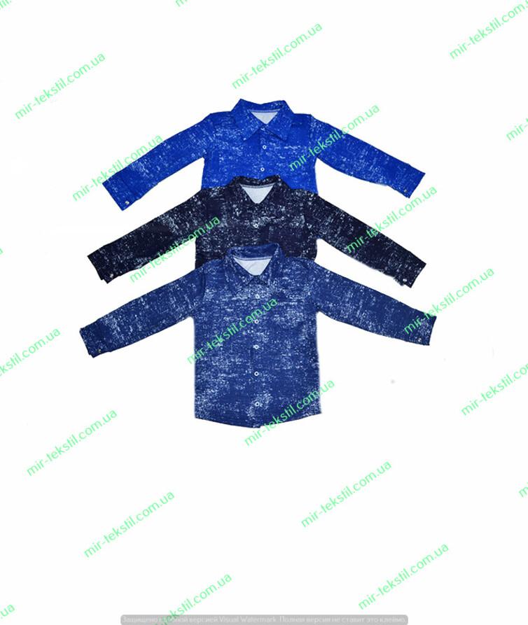 Рубашка для мальчика джинс двухнитка флам утепленная