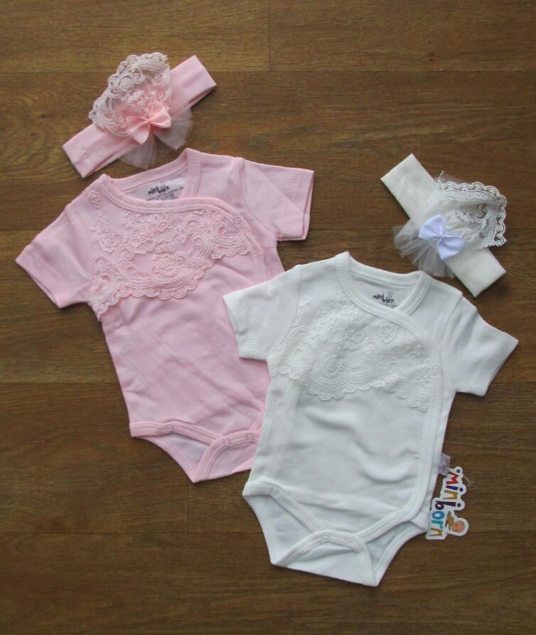 Боди с коротким рукавом для новорожденных на девочку с повязкой Турция, интерлок