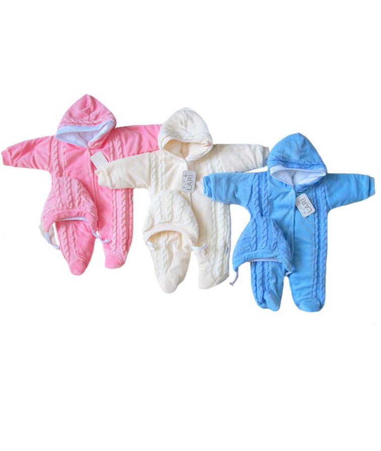 Комбинезон для новорожденных на меху вязаные вставки