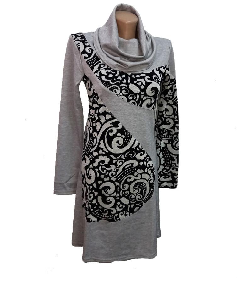 Женское платье с длинным рукавом (горло хамут), трикотаж