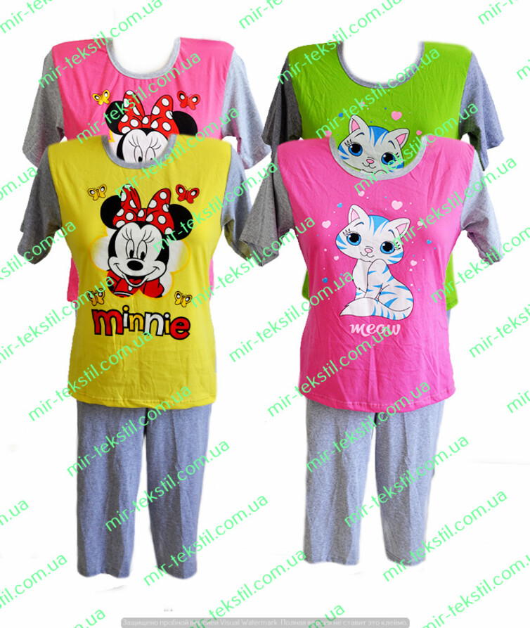 Пижама женская с бриджами хлопок с рисунком