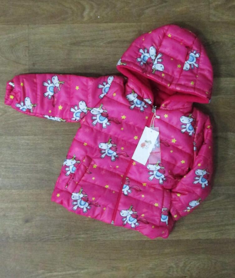 Деми куртка для девочки с капюшоном Турция, синтепон