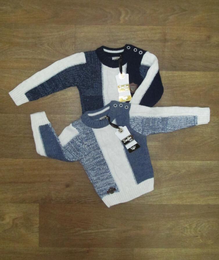 Детский свитер для мальчика с пуговицами по плечу Турция, вязаный
