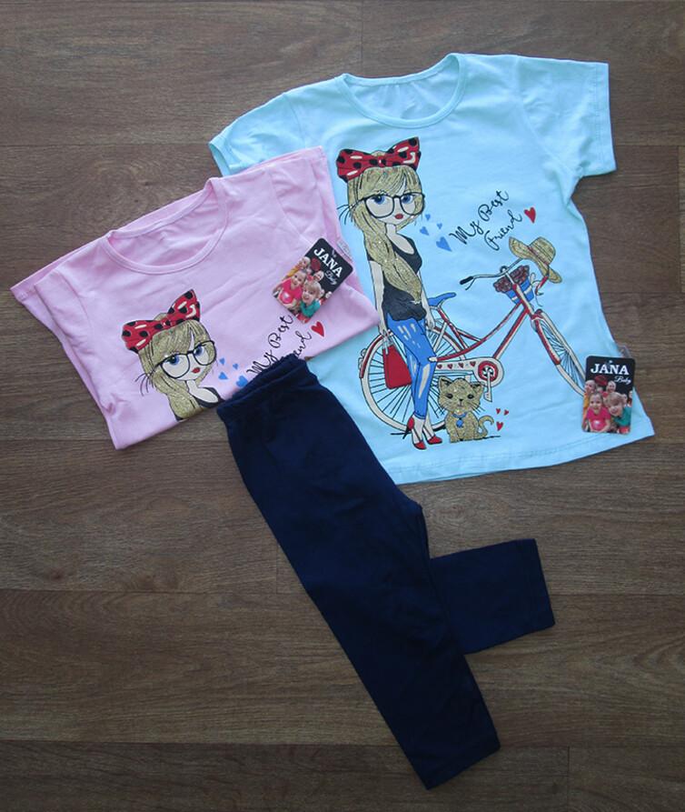 Деткий летний костюм на девочку (футболка + бриджи)