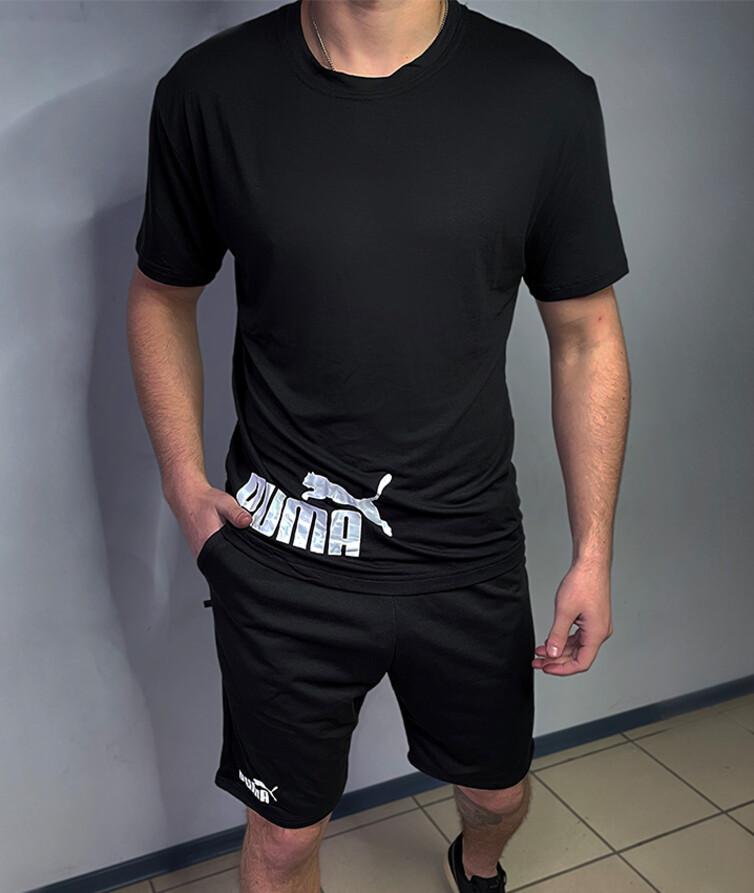 Костюм летний мужской футболка + шорты (черный с серым),  двухнитка + стрейч кулир