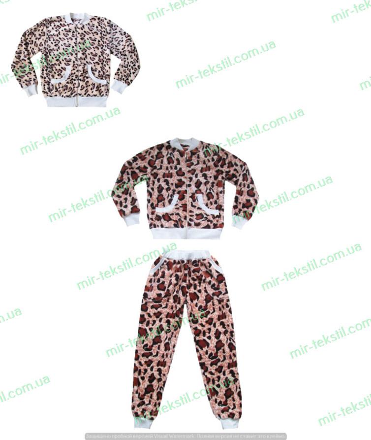 Пижама детская махровая на молнии леопард