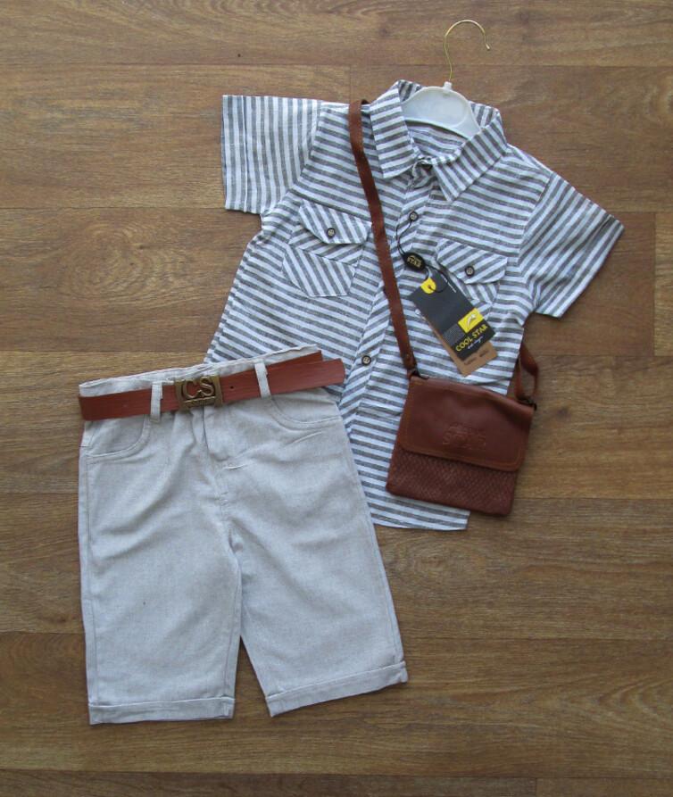 Летний костюм турецкий на мальчика (шведка + бриджи + сумочка)