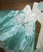 Комплект в коробке для новорожденных на выписку Турция (платье, боди с длинным рукавом, повязка, пинетки, колготки)